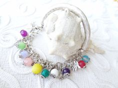 silverplated color of natural stone bracelet by sevinchjewelry, $30.00