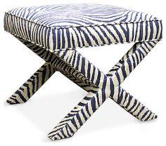 Jonathan Adler X-bench In Tanzania indigo eclectic-bedroom-benches