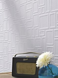 Graham & Brown Squares Paintable Wallpaper is a great way to get the elegance of wallpaper in your home without sacrificing the versatility of paint. Wall Coverings Home Wallpaper Fix, White Wallpaper, Wallpaper Online, Wallpaper Ideas, Geometric Wallpaper, Wallpaper Accent Walls, Pattern Wallpaper, Wallpaper For Home Wall, Wallpaper Awesome
