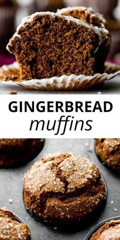 This recipe makes a batch of moist and extra spiced gingerbread muffins for Christmas! Top with sparkling sugar for a … Muffin Tin Recipes, Baking Recipes, Cookie Recipes, Baking Ideas, Cupcake Recipes, Cupcakes, Cupcake Cakes, Holiday Baking, Christmas Baking