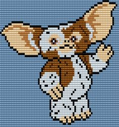 Gizmo from Gremlins Square Grid Pattern 72 Columns X 60 Rows (Pattern by me, Man in the Book)