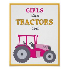 Tractor Baby Shower, Tractor Nursery, Tractor Room, Pink Tractor, Baby Nursery Art, Farm Nursery, Nursery Artwork, Nursery Paintings, Nursery Ideas