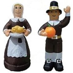 Air Blown Inflatable Thanksgiving Pilgrim man holding a pumpkin and woman wearing a bonnet and holding a pie to use in your Halloween, Thanksgiving, or Harvest yard inflatable display. Thanksgiving Inflatables, Holiday Inflatables, Yard Inflatables, Halloween Inflatables, Halloween Yard Decorations, Halloween Displays, Halloween Themes, Amish Men, Inflatable Pumpkin