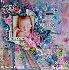 Wonderful Mixed Media Scrapbooking Layout by Marilyn Rivera
