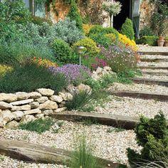 Escalier de jardin : jouer avec les niveaux - Paliers successifs