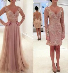 Sparkly Prom Dress, long sleeves v neck tulle prom dress with detachable train dusty pink prom dress cocktail dress sexy prom dress , These 2020 prom dresses include everything from sophisticated long prom gowns to short party dresses for prom. Blush Pink Prom Dresses, Prom Dresses 2016, Elegant Prom Dresses, Prom Dresses Long With Sleeves, Prom Dresses With Sleeves, A Line Prom Dresses, Tulle Prom Dress, Cheap Prom Dresses, Sexy Dresses