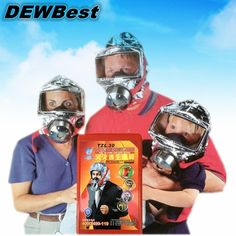 Emergency Escape Hood Oxygen Mask Respirator Disposable  Fire Smoke Toxic Filter Gas Big Visor Firemask First Aid Kit