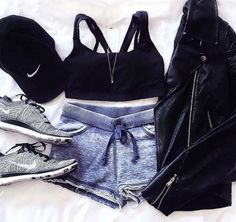 #outfit #nike #black #cap #shorts #jacket #shoes #top