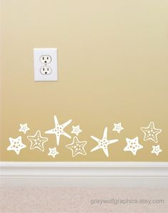 Starfish Wall Decal set of 16 matte vinyl wall by greywolfgraphics