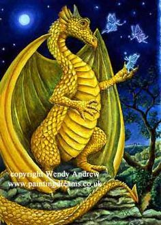 Yellow Dragon Faerie Friend by Wendy Andrew