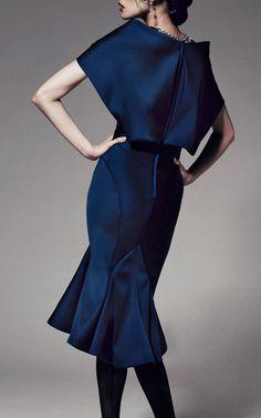 Stretch Duchess Cape Back Dress by Zac Posen for Preorder on Moda Operandi