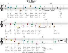 easy guitar sheet music for cc rider featuring don't fret productions color coded guitar tablature /></p>       <p align=