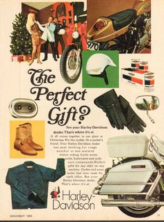 1969 Vintage Harley Davidson Motorcycle Parts Accessories Christmas Ad