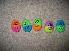 I love this - plastic eggs to match rhythm equivalents!