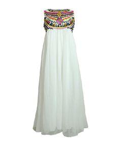 Sleeveless Ethnic Embroidery Maxi Dress
