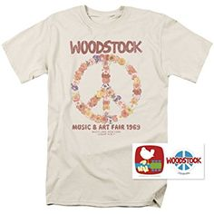 Woodstock Peace Symbol T Shirt and Exclusive Stickers (Medium)