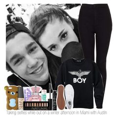 """""""Taking selfies while out on a winter afternoon in Miami with Austin"""" by marissaackles997 ❤ liked on Polyvore featuring NARS Cosmetics, Victoria's Secret PINK, Topshop, BOY London, Maybelline, Vans and Forever 21"""