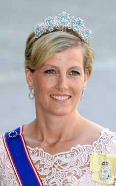 Sophie, Countess of Wessex, wearing the Five Aquamarine Tiara, United Kingdom (ca. 1970; aquamarines, diamonds).
