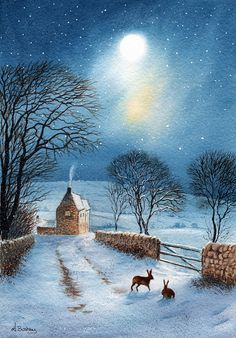 Hares in the moonlight The Shortcut by janayart on Etsy Winter Pictures, Christmas Pictures, Christmas Art, Winter Magic, Winter Art, Winter Snow, Graffiti Kunst, Illustration Art, Illustrations