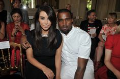 Kim Kardashian and Kanye West Front Row at Valentino