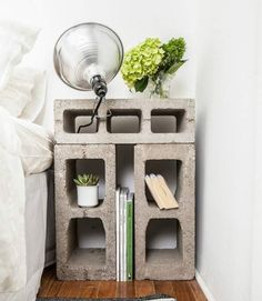 Bedside Table formed from concrete blocks - The New Design Proyect