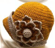 Cloche 1920s vintage style ladies flapper crochet hat gingerbread/caramal   eBay