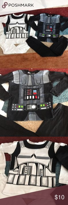 Star Wars boys pajamas Star Wars Boys Pajamas size 10. Darth Vader and Storm Trooper. Both hardly ever worn. My son likes shorts and short sleeves only to sleep in. He literally wore these a few times. In excellent condition. No stains or anything. Practically brand new. Make me an offer! 😁 Star Wars Pajamas Pajama Sets