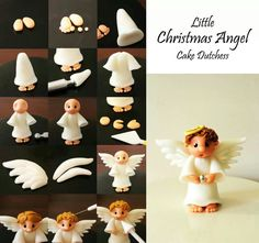Little Christmas Angel - Cake Dutchess Cake Dutchess, Polymer Clay Christmas, Polymer Clay Crafts, Sculpey Clay, Polymer Clay Tutorials, Cake Decorating Supplies, Cake Decorating Tutorials, Fondant Toppers, Cupcake Toppers