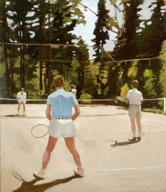The Tennis Game - Fairfield Porter, 1972 American, Oil on canvas x nice perspective, blurry Fairfield Porter, Photography Illustration, Art Photography, Tennis Games, Digital Museum, Portraits, Portrait Paintings, American Artists, Art History