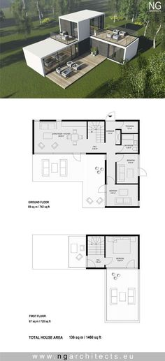18 Ideas small container house plans for modular house plan villa Spirit designed by NG architects . Modern House Plans, Small House Plans, Modern House Design, Modern Floor Plans, Building A Container Home, Container House Plans, Stair Plan, Tiny House Stairs, Deck Stairs