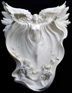 """anazale: """" Gaylord Ho Gaylord Ho was born April 1950 in Hsin-Wu, Taiwan. A master sculptor and inspired artist, his goal in every sculpture is to capture forever the fleeting emotion of a single. Statue Ange, I Believe In Angels, Ange Demon, Fantasy Kunst, Angels In Heaven, Heavenly Angels, Angel Art, Sculpting, Creations"""