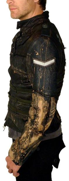 """Men's JUNKER DESIGNS - """"OFFICER'S JACKET"""" in Blue Midnight Leather with Metal Accents. Not a bad leather layer for excursions outside the wire."""
