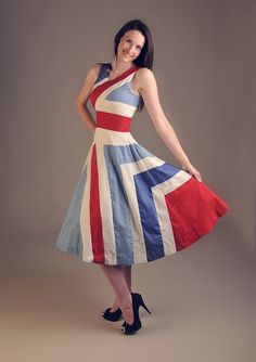 Red white & blue 100 cotton Olympic Wedding by HayleyJayneDesigns, £99.00