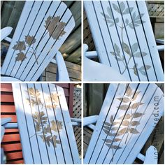 natural wood left behind the stencil on my repainted Muskoka chairs rescued from the trash From VoneInspired