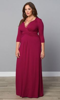 Our plus size Desert Rain Maxi Dress is on-trend style. With an alluring crossover bodice and detailed ruched sleeves, this is the cocktail dress or evening dress you've been in search of. Shop available colors at www.kiyonna.com. #kiyonna #maxidress