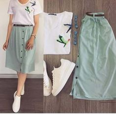 Ideas For Fashion Outfits Moda Juvenil Modest Outfits, Skirt Outfits, Modest Fashion, Skirt Fashion, Fashion Dresses, Fashion Shoes, Fashion Clothes, Cute Summer Outfits, Trendy Outfits