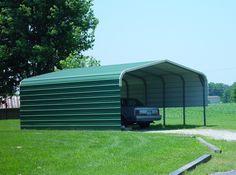 Regular Roof Style Standard Carport with 14 gauge - Carport Pole Barn Garage, Carport Garage, Car Garage, Carolina Carports, Portable Carport, Steel Carports, Building A Garage, Guard House, Carport Designs