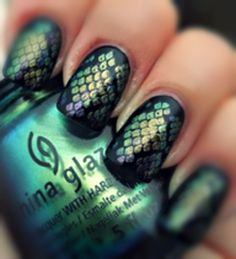 pretty convincing mermaid scales nail art. >>> 4 different China Glaze Bohemian colors stamped with plate BM215 over black. (Rare and Radiant, Unpredictable, Want My Bawdy and No Plain Jane).