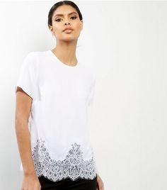 White Lace Hem Short Sleeve T-Shirt  | New Look