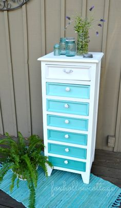 Painted Furniture Makeover: aqua ombre dresser chest
