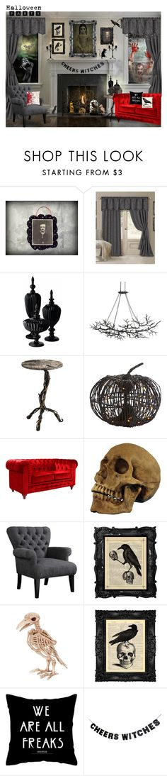 """Creepy Town Halloween Party"" by mermadem8 ❤ liked on Polyvore featuring interior, interiors, interior design, home, home decor, interior decorating, Elrene Home Fashions, Lazy Susan, Pier 1 Imports and Retrò"