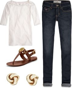 """""""Cute Relaxed Preppy Outfit"""" by elizabethandre ❤ liked on Polyvore #preppy #casual ware #summer outfits"""