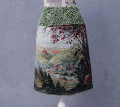 ✪ ᗰaℓσℓσ ✪ ℓaiai ✪ Woodland Skirt Deer Skirt Vintage Gobelin Tapestry by StarsWear Tapestry Fabric, Textiles, Vintage Mode, Mori Girl, Green Cotton, Vintage Skirt, Vintage Crochet, Hand Crochet, Refashion