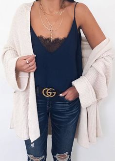 #winter #outfits navy blue tank top, dark ripped jeans, white cardigan
