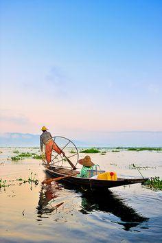 Inle Lake fisherman  Burma  Myanmar