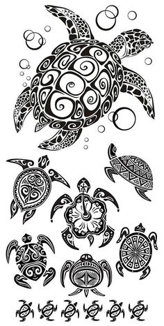Awesome Turtles Tattoo Design