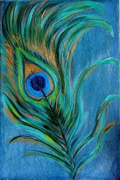 Peacock Feather. Oil painting of a peacock feather. Paintings available at LaraOlivaArt.etsy.com by Naghma