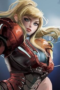 illustration of Samus somehow in between her Zero-Suit and Battle Armor forms. I love how the background has a perfect blend of highlights and shadows and the detail in her armor and hair makes her exceptionally fleshed out.