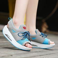 Fashion Summer Women's Sandals Casual Sport Mesh Breathable Shoes 2017 Women Ladies Wedges Sandals Lace Platform Sandalias Size9
