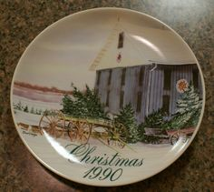 1990 SMUCKERS JELLY COLLECTOR CHRISTMAS PLATE THE PINE TREE DUSH BARN WOOSTER OH #Smuckers